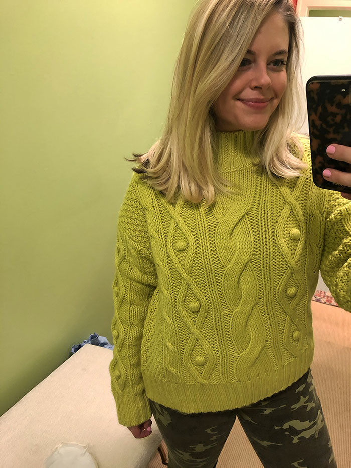 Charlotte's cable knit neon color sweater