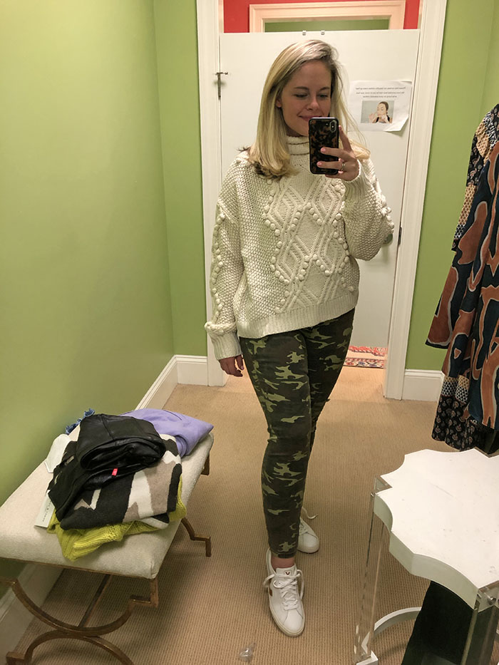 Charlotte's camo print pants and cable knit sweater