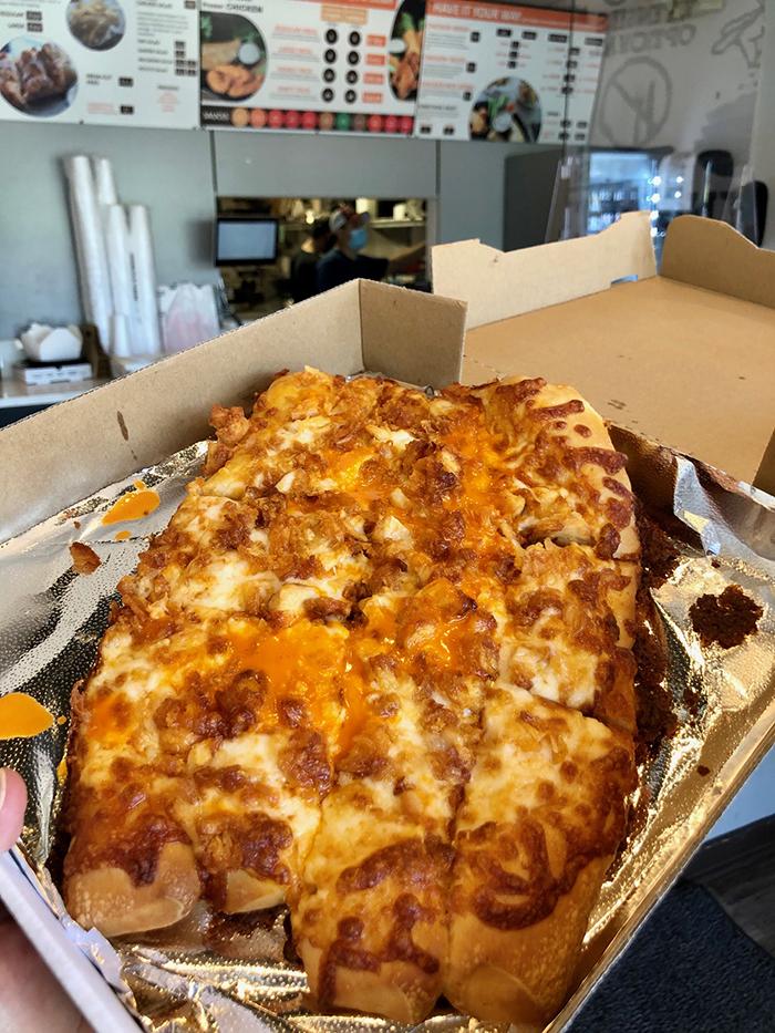 buffalo chicken pizza at flip a lo charlotte