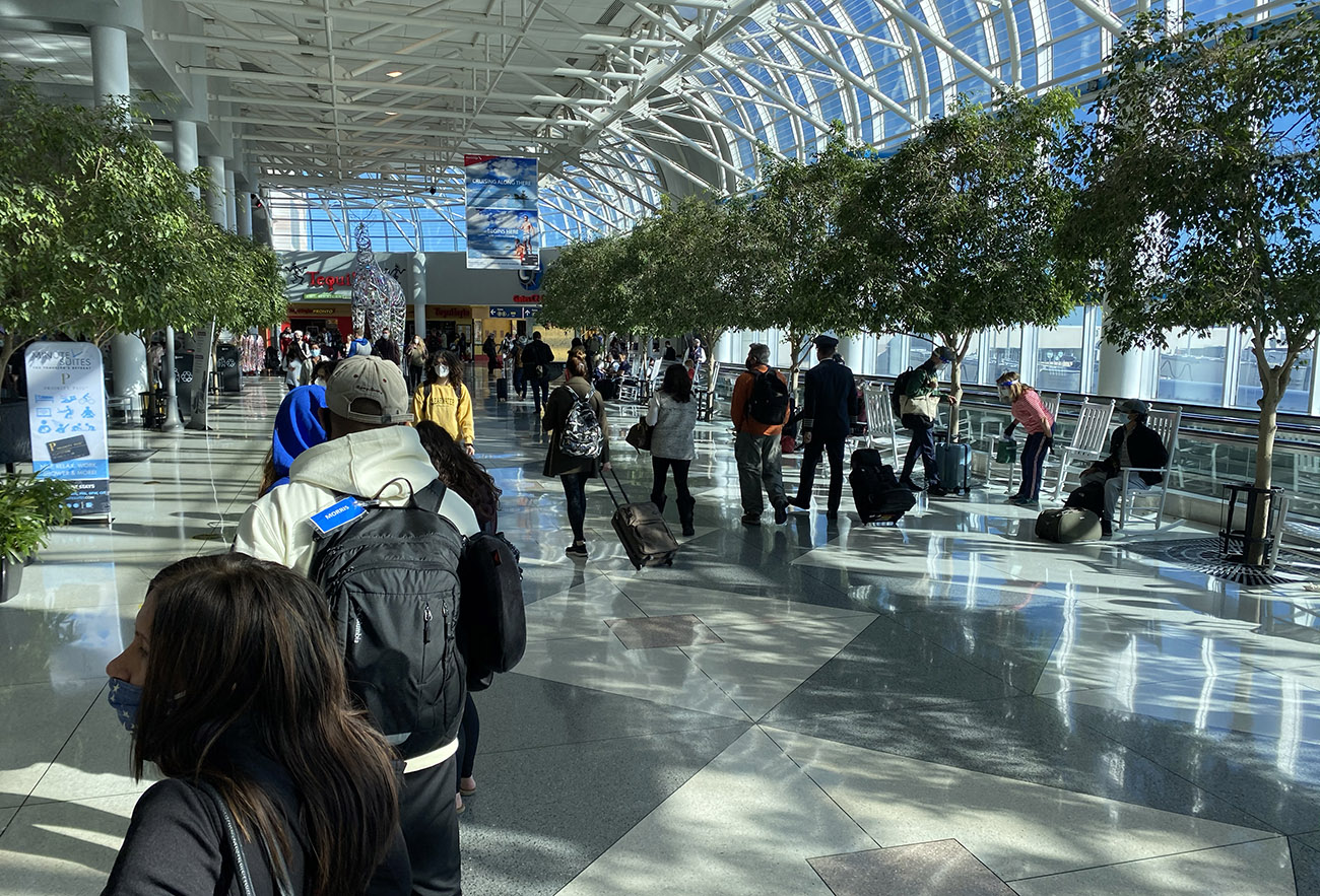 How do you socially distance in a crowded airport like Charlotte Douglas?