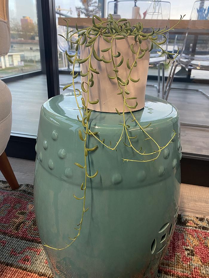 a grey design planter