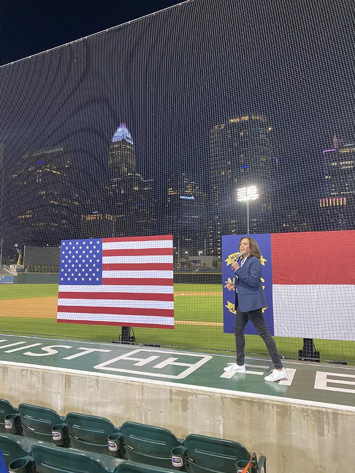Kamala Harris at rally at Truist Field in Charlotte 2020