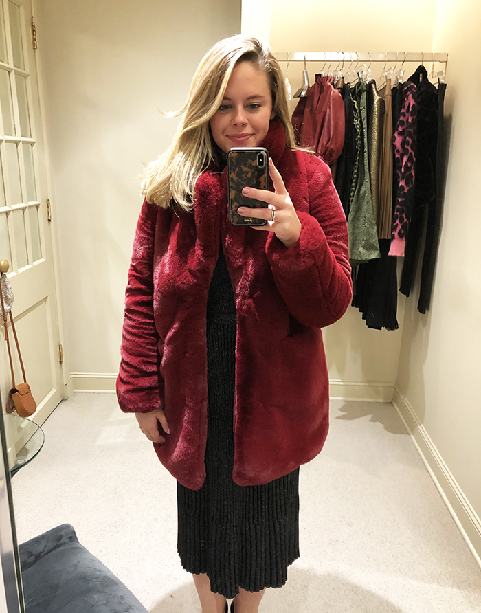Holiday fashion guide red fur coat texture trend coplons