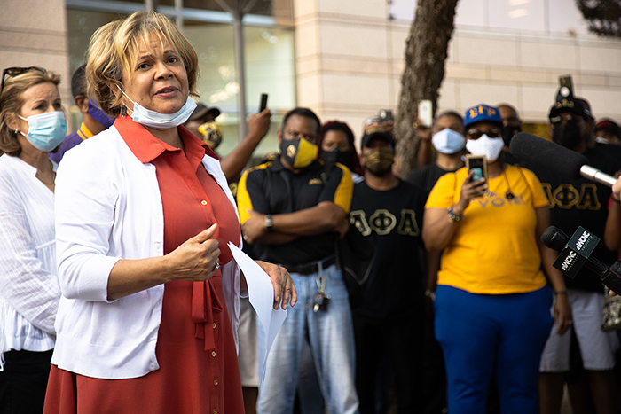 Mayor Vi Lyles and protesters in June 2020