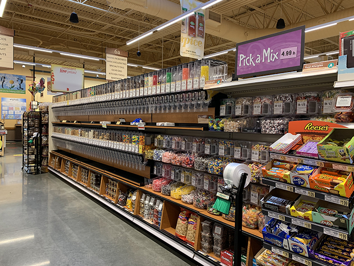 Bulk foods aisle at the Wegmans in Morrisville